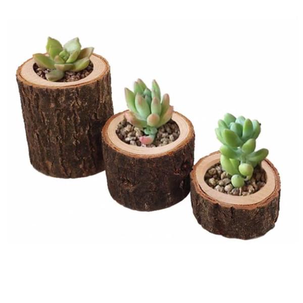 Rustique Vintage En Bois Pots De Plantes Petite Ronde En Bois Jardinière Bougeoir Fleur Succulente En Pot Pots New Home Décoratif