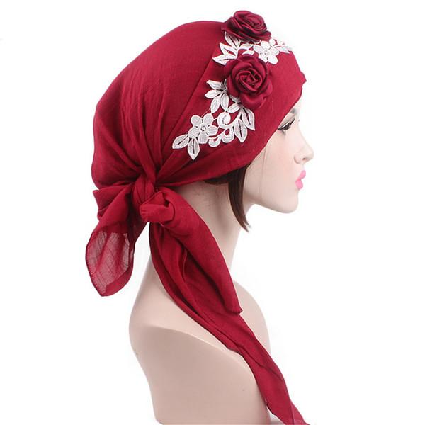 1PC Fashion Women Flower Lace Hat Muslim Turban Hijabs Cotton Head Wrap Stretch Hat Chemo Cancer Cap Headscarf Hair Accessories
