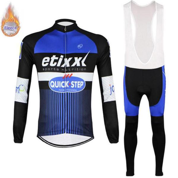 2019 Quick Step takımı Uzun Kollu Bisiklet Jersey Ve Önlüğü pantolon Erkekler Kış Termal Polar Bisiklet Giyim ılık kış kollu ayarlar