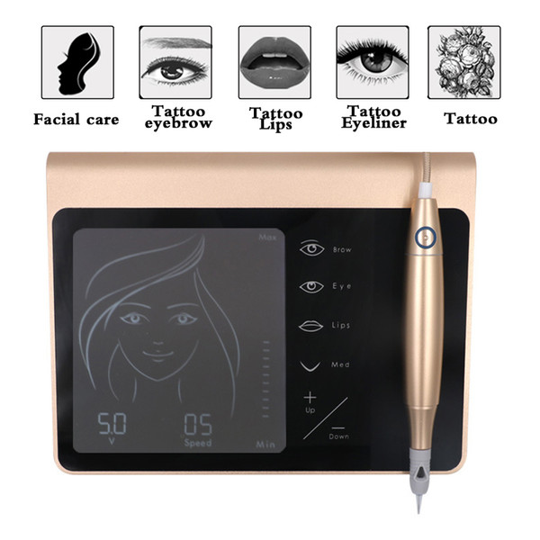 New Golden Touch Screen Rechargeable Battery Us/eu Plug Machine Kit Eyebrow Lip Eyeliner Tattoo Machine With Cartridge Neeldes