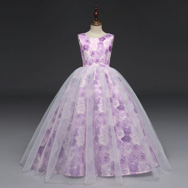 U-SWEAR 2019 nuovo arrivo Kid Flower Girl Dresses Purple Rose stampa dell'arco Backless Zipper ragazze Pageant Abiti Vestidos