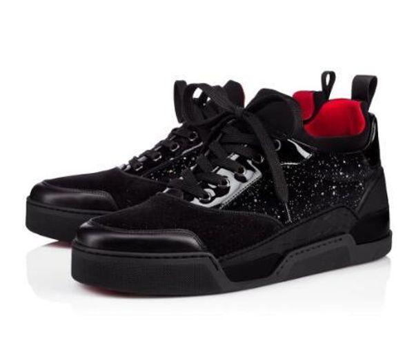 Zapatos de diseño casual Bottom Red Men Sneakers Aurelien Flat Lovers Cuero genuino High Top Pisos casuales Zapatos de lujo 11