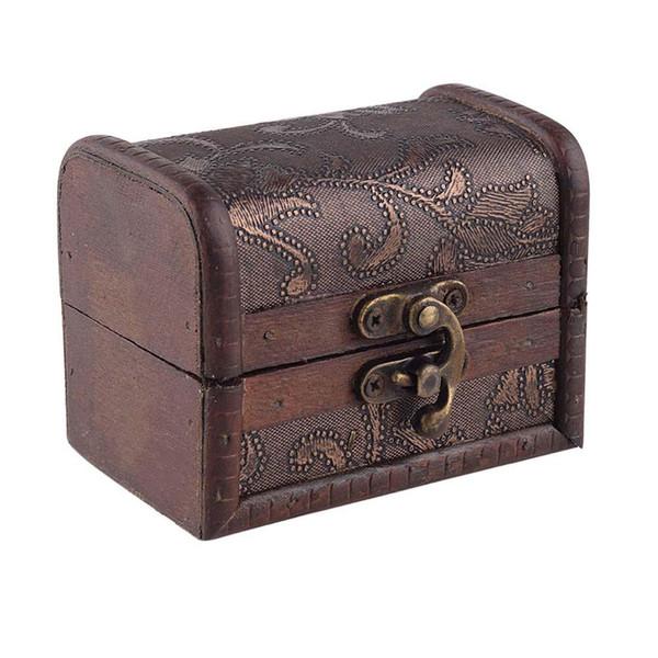 Ahşap hediye kutusu Vintage Metal Kilit Takı Hazine Göğüs Vaka Manuel Inci Kolye Bilezik Depolama Organizatör