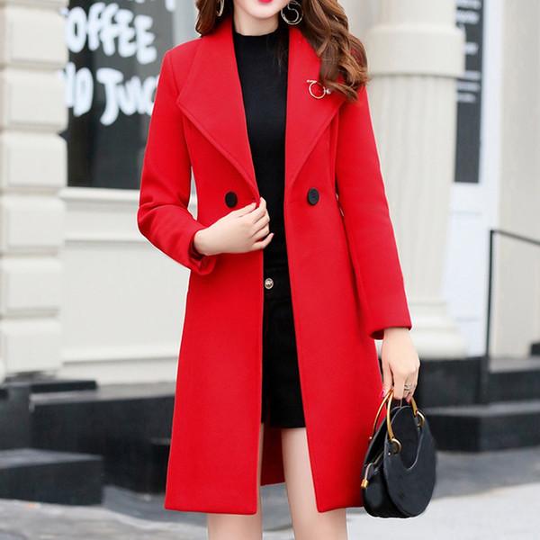Polto femme femme manteau automne femmes travail solides de bureau vintage d'hiver Bouton à manches longues Woollen manteau de veste plaszcze damskie