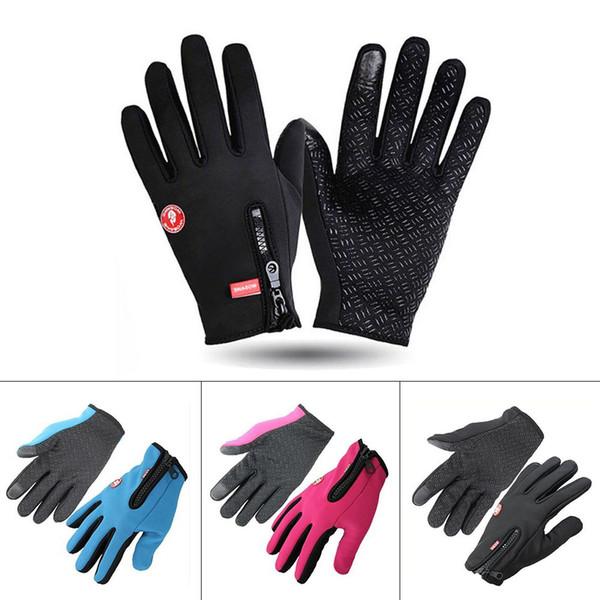 Touch Screen Windproof Waterproof Outdoor Sport Gloves For Men Women Anti Slip Thermal Warm Breathable Winter Black Zipper Glove