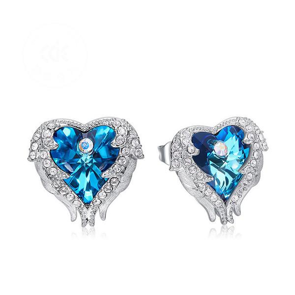 Elegant Swarovski Crystal Earrings Angels Wing Heart Stud Crystal Blue Purple Earring Stud Luxury Gifts For Girls