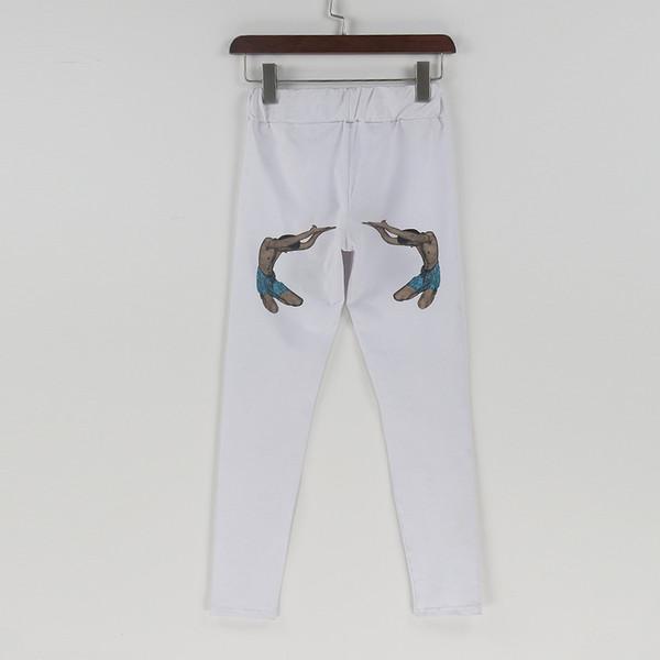 Calças Das Mulheres Calças Lápis Calças Casuais primavera Outono Branco Engraçado Impresso Calças Stretch Para As Mulheres Magras Calças Das Senhoras Calça