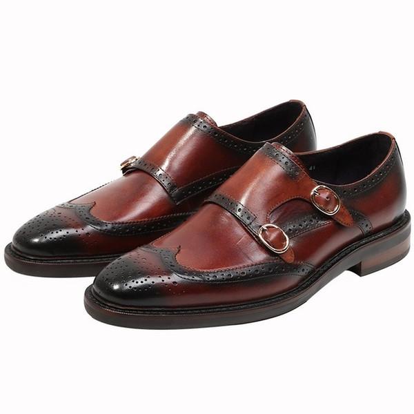 Großhandel Schnalle Riemen Business Wingtip Lederschuhe Männer Vintage Freizeitschuhe Designer Handarbeit Aus Echtem Leder Mönch Formelle Schuhe