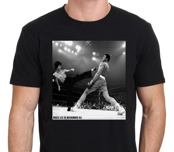 Bruce Lee gegen Muhammad Ali, klassisches Vintages Fantasie-T-Shirt-Plakat Das T-Stück der Männer