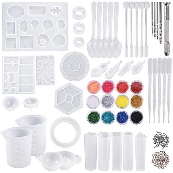 DIY Schmuck Gießformen Werkzeug-Satz 255 Stück Silikon-Resin Casting Formen und Werkzeuge Set mit 100 ml Silikon-Messbecher Mini