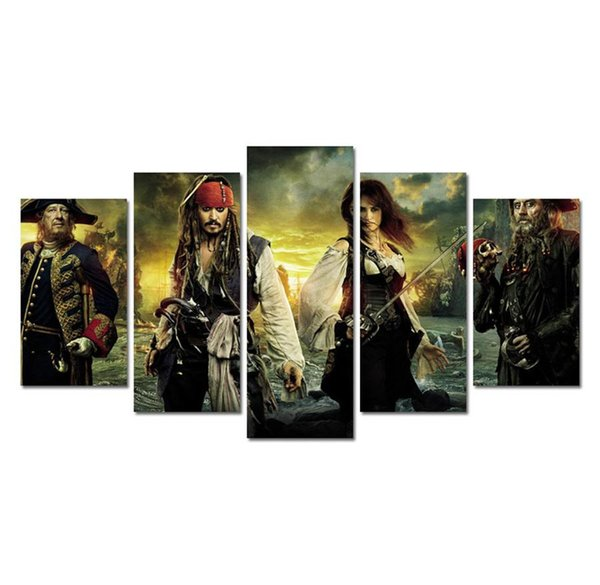 Captain Jack Sparrow-7 ,5 Pieces Home Decor HD Printed Modern Art Painting on Canvas (Unframed/Framed)