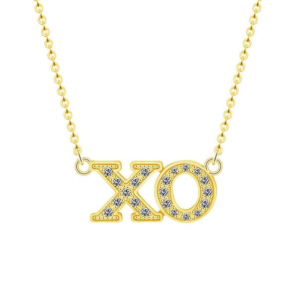 Cz XO lettre Long Collier Couple Bijoux Or Rose Ketting Mignon Chaîne De Mode Long Collier Ras Du Cou Meilleur Ami Cadeau