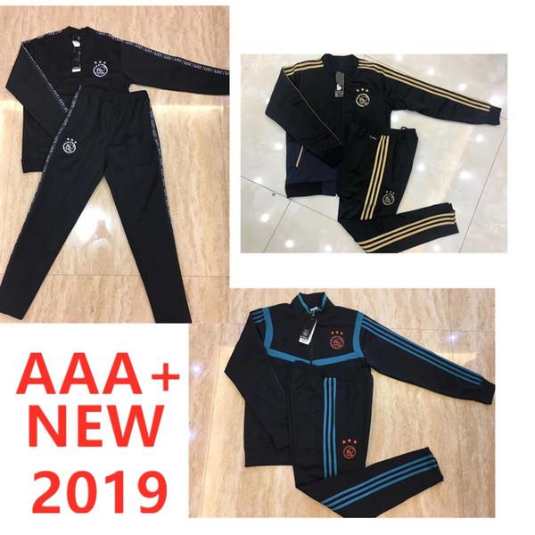 Top quality 19 20Ajax FC jacket training suit 2019 2020 HUNTELAAR DOLBERG NOURI ZIYECH Ajax football jacket Long zipper soccer tracksuit