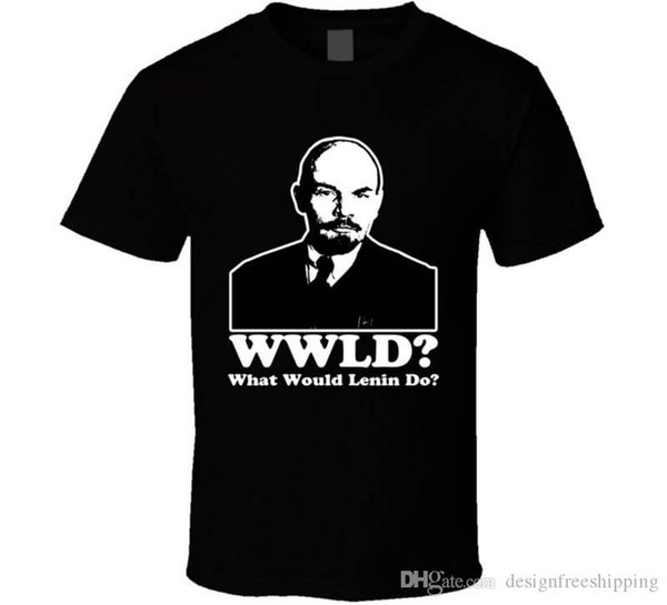 Camisa casual de algodón blanca de manga corta con cuello redondo estampado Lenin Wwjd Tee para hombres
