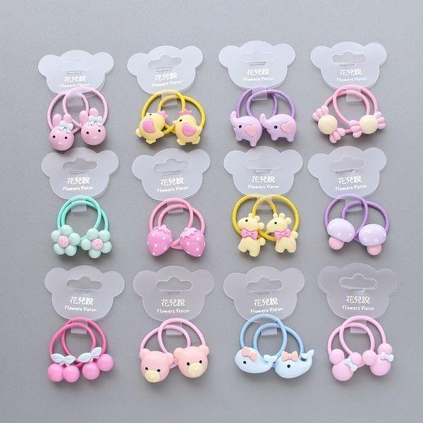 2 Pcs Cartoon Fruit Flower Princess Headwear Baby Headdress Children Ropes Girls Hair Accessories Kids Elastic Bands
