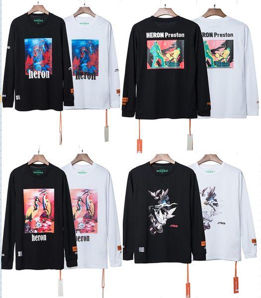 2019 Nuovo HERON PRESTON Ricamo Donna Uomo Dolcevita T-shirt a manica lunga Tees Hiphop Streetwear Uomo T-shirt in cotone HP Marca S-XL