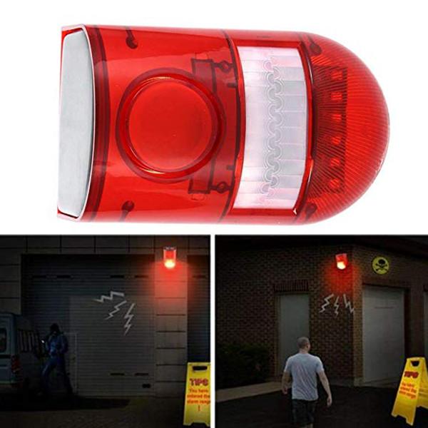 CRESTECH Solar Powered Sound Alarm Strobe Light Flashing 6LED Light Motion Sensor Security Alarm System 110dB Loud Siren