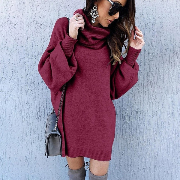 wholesale women's autumn sweaters pullover long sweaters winter fashion puff sleeve loose high collar long sweater coat s-xl 5 colors