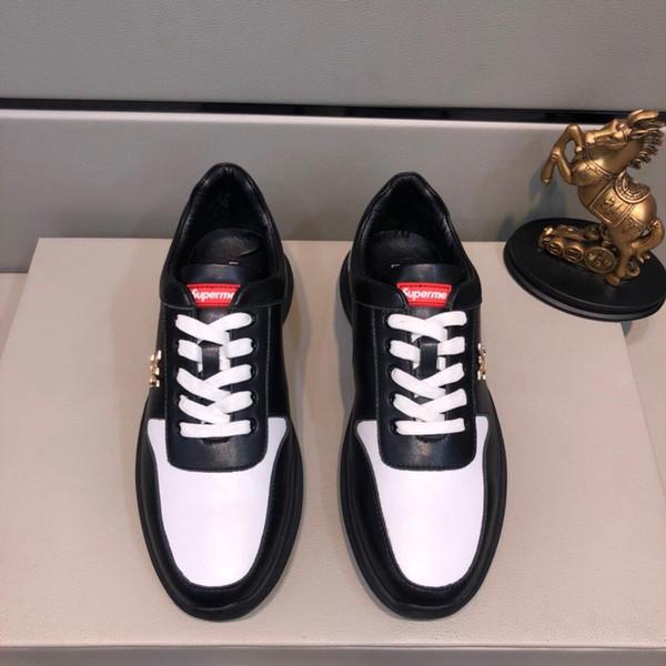 2019z sonbahar yeni lüks tasarım deri erkek moda düşük üst spor ayakkabı, yüksek kaliteli çok yönlü düz ayakkabılar, orijinal kutu ambalaj, boyutu: 38-44
