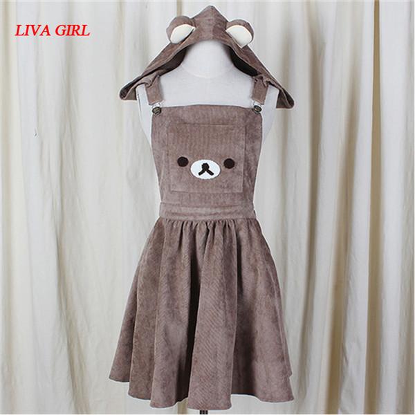2017 vestido de una línea japonesa vestido del bordado del oso lindo vestido Harajuku Lolita Y190514