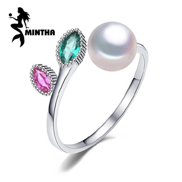 anéis de rubi casamento Mintha Pearl, pérola jóias de prata esterlina 925 Black White água doce esmeralda Anel por Mulheres presente, caixa de jóias