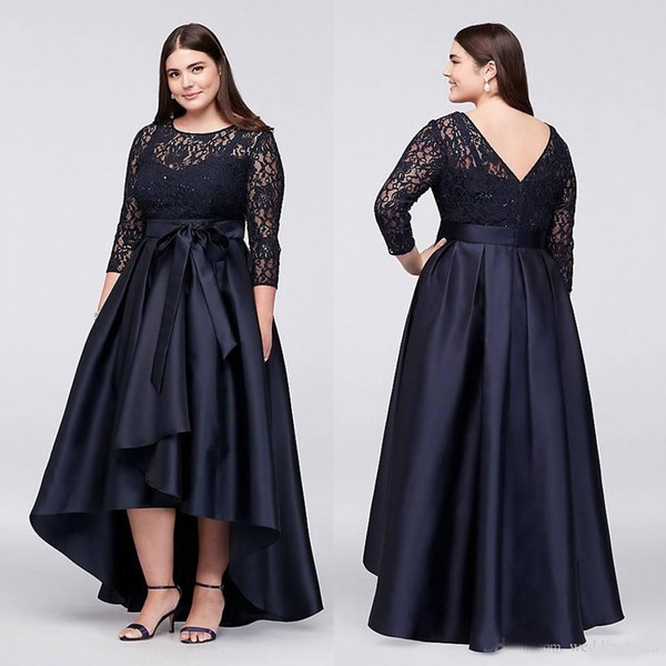 Black Plus Size High Low Formal Dresses With Half Sleeves Sheer Jewel Neck  Lace Evening Gowns A Line Cheap Short Prom Dress Plus Size Junior Prom ...