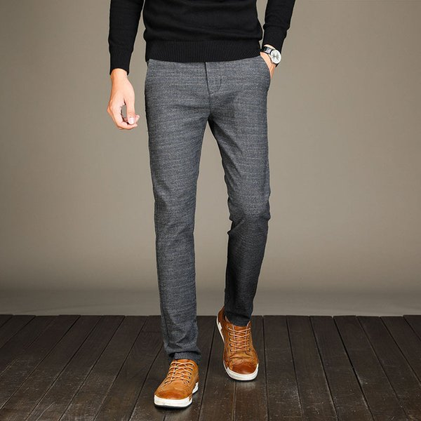Pants Full Length Cotton Pants Men Regular Zipper Men Casual Mens Business Trousers Big Size 34 36 38