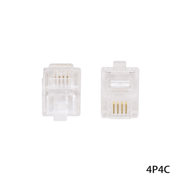 best selling 4P4C 4 Pins 4 Contacts RJ11 Telephone Modular Plug Jack RJ11 Connector Crystal Head Ethernet Cable Plugs Heads