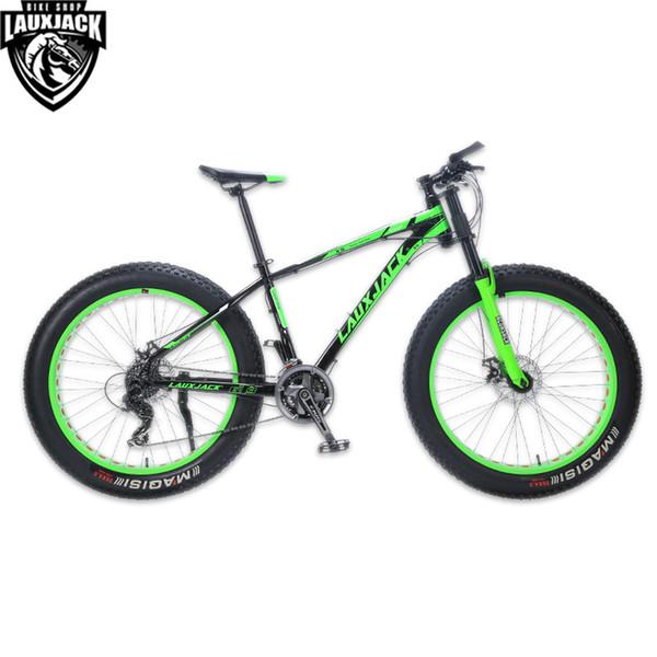 "LAUXJACK Mountain Bike Aluminum Frame 24 Speed Shimano Mechanical Brake Fat Bike 26""x4.0 Wheel Long Bicycle Fork"