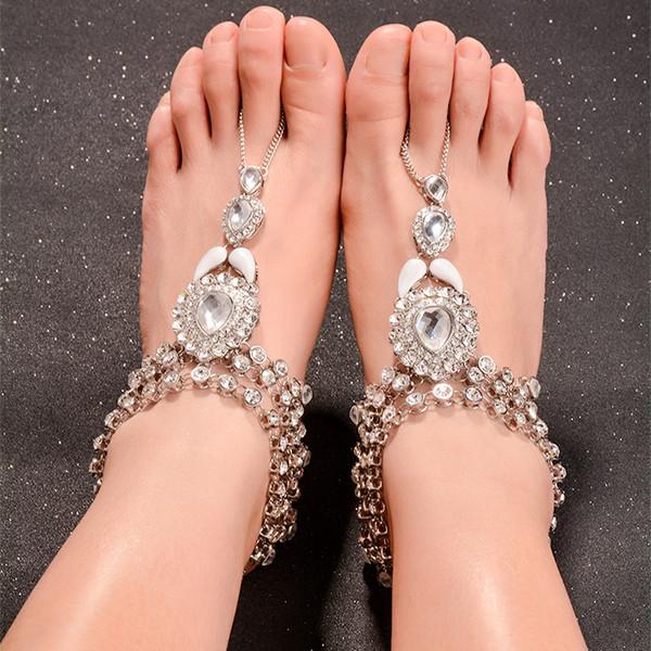 Kadınlar Katmanlı Püskül Gem Ayak Takı Beach Barefoot Sandal Yapay elmas Halhal için Ingemark Bohemian Vintage Kristal Halhallar