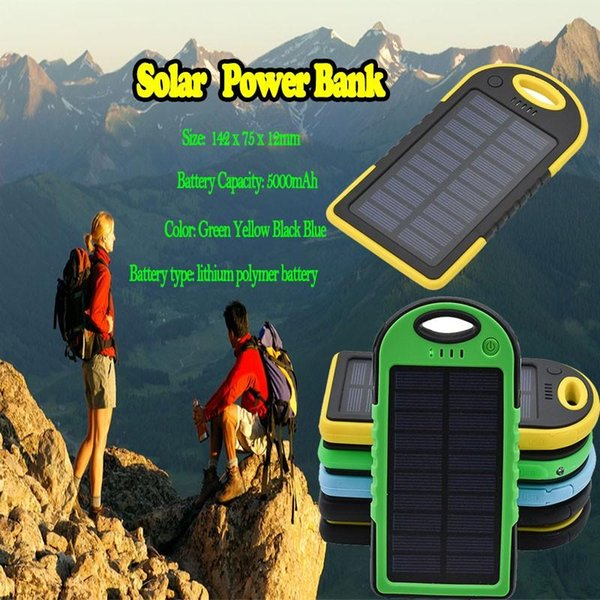 5000mAh Solar Power Bank Waterproof Shockproof Dustproof Portable Solar Powerbank External Battery for Cellphone High Quality