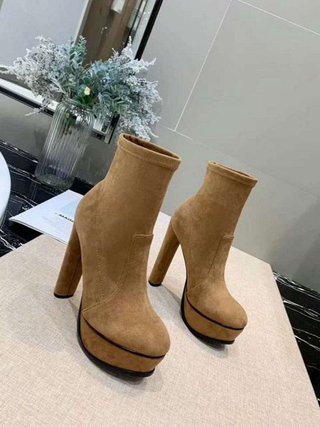 [orignal Box] Luxury Sexy Socks High Heel 10cm Womens Half Ankle Short Winter Snow Boots Knight Embroidery Stretch Fabric Shoes Size 35-41