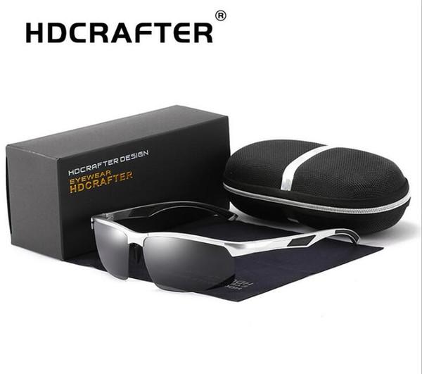 HDCRAFTER brand Latest design Polarized HD Sunglasses alloy frame Anti-Glare driving Riding ultraviolet-proof fishing Sunglasses,Gift box