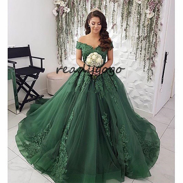 c5abbe6c871 Hunter Forest Green Prom Dress Boat Neck Appliques Vestidos De Fiesta 2019  Off Shoulder Puffy Skirt Lace Arabic Dubai Evening Gowns Prom Dresses With  ...