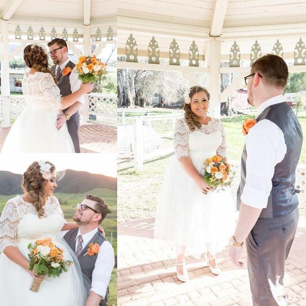 Latest Half Sleeve A-line Plus Size Wedding Dresses Tulle Satin Button up Back Tea-length Western Short Bridal Dresses Wedding Gowns 3810