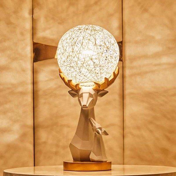 Yaratıcı Geyik Kamışı Lamba Oturma Odası Yatak Odası Başucu Lambası Ev dekor Kamışı Dekoratif Lambalar Lamparas De Mesa Para El Dormitorio