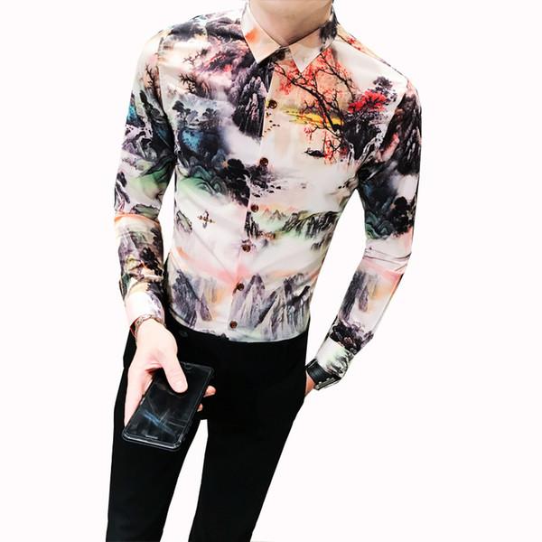 Fashion Spring Autumn New Shirt Men Chinese Style Print Slim Fit Long Sleeve Tuxedo Retro Casual Night Club Party Dress Shirts