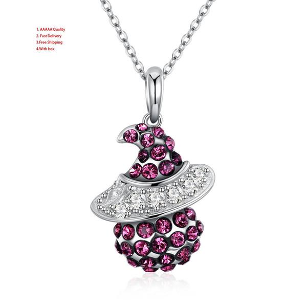 Collar de plata Flor de las mujeres Rojo Solitario de las mujeres mexicanas Joyería de moda de plata Collares Collar de cadena para las mujeres 925 de plata