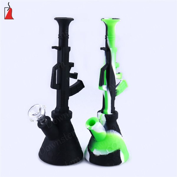 Silicone water Pipes bongs Gun shape Glass bong Silicone Bongs Hookah Silicone oil Rigs for Smoking Herb new smoking bubbler pipes