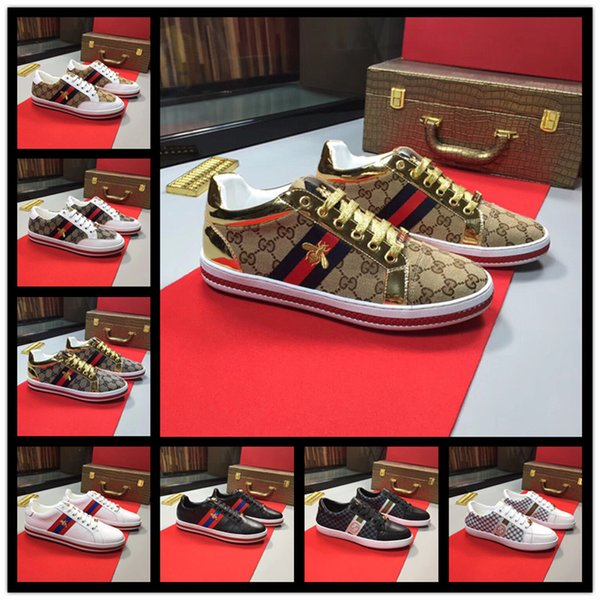 2019 Designer Fashion Luxury Mens Shoes Snake Print for Love Sneakers Low Top Black And White Lether Men Women Casual Shoes 38-44