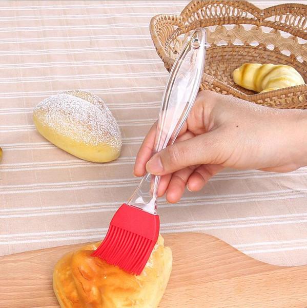 Brosse à pâtisserie de grande taille Silicone Cuisson au four Pain Cuisson Brosses Pâtisserie Huile de pâtisserie BBQ Battre Manche Transparent Brosse PâtisserieTool