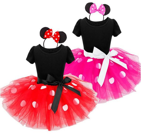 New Summer Children Princess Dress Girls Mickey Polka Dots Suspender Tulle Tutu Dress Kids Cotton Sundress Children Clothes
