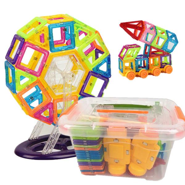 Bloques baratos 142 Unids Mini Diseñador Magnético Plástico Bloques Magnéticos Set de Construcción Modelo de Juguete de Construcción Juguetes Educativos Regalo de Los Niños Con Caja