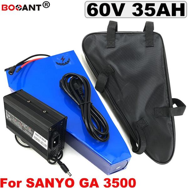 Triángulo 60 V 35Ah Bateria Elétrica Da Bicicleta Da Bateria de Lítio para SANYO 18650 cellolar 1500 W 2500 W 10 16 S P 60 V E moto-Bateria c