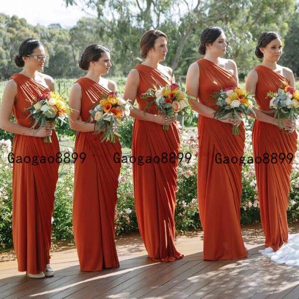 Afro-américaine à long ruché en mousseline de soie Grecian Gracieux épaule Jersey plissés demoiselle d'honneur Dres 2019 Simple boho domestique d'honneur robe