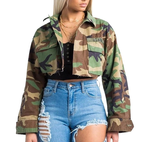 European Charms Spring Autumn Camouflage Sexy Short Coats And Jackets For Women Army Green Outwear Tooling Casual Style Yq057 SH190821