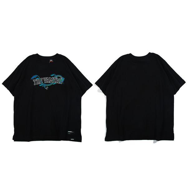 Men Harajuku T Shirt Blue Green Dragon Streetwear Hip Hop T-Shirt Summer Fashion Tshirt Short Sleeve Cotton Tops Tees Loose