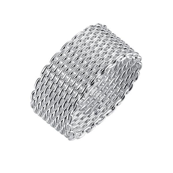 DHL plateado Epacket anillo neto de plata de ley de EE.UU. tamaño DHSR38 6,7,8,9,10; 925 placa de plata anillos de la venda de la joyería mujeres del envío gratis