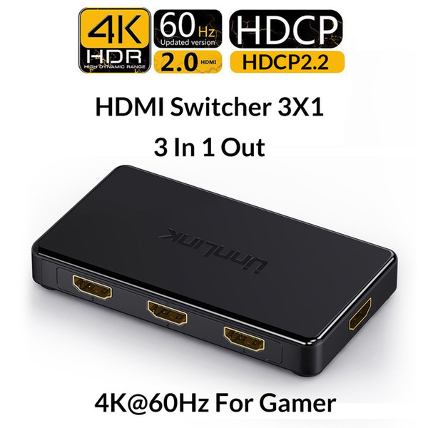 Unnlink Hdmi Switch 3x1 5x1 Hdmi 2.0 Uhd4k @ 60hz 4: 4: 4 Hdcp 2.2 Hdr 3 In 1 Out для Smart TV Mi Box3 Ps4pro Xbox One Xs Проектор T6190613
