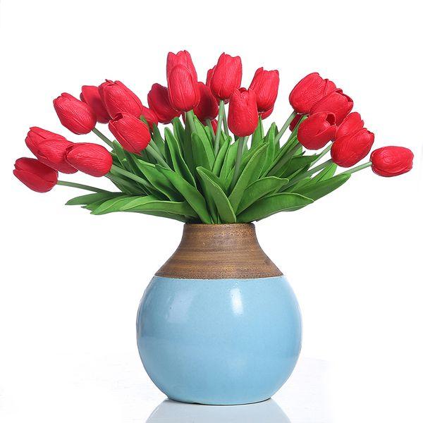 Luyue 30 Pcs Flores De La Novia Artificial Tulip Flower Real Touch Wedding Home Decoration Accessories Flowers J190711